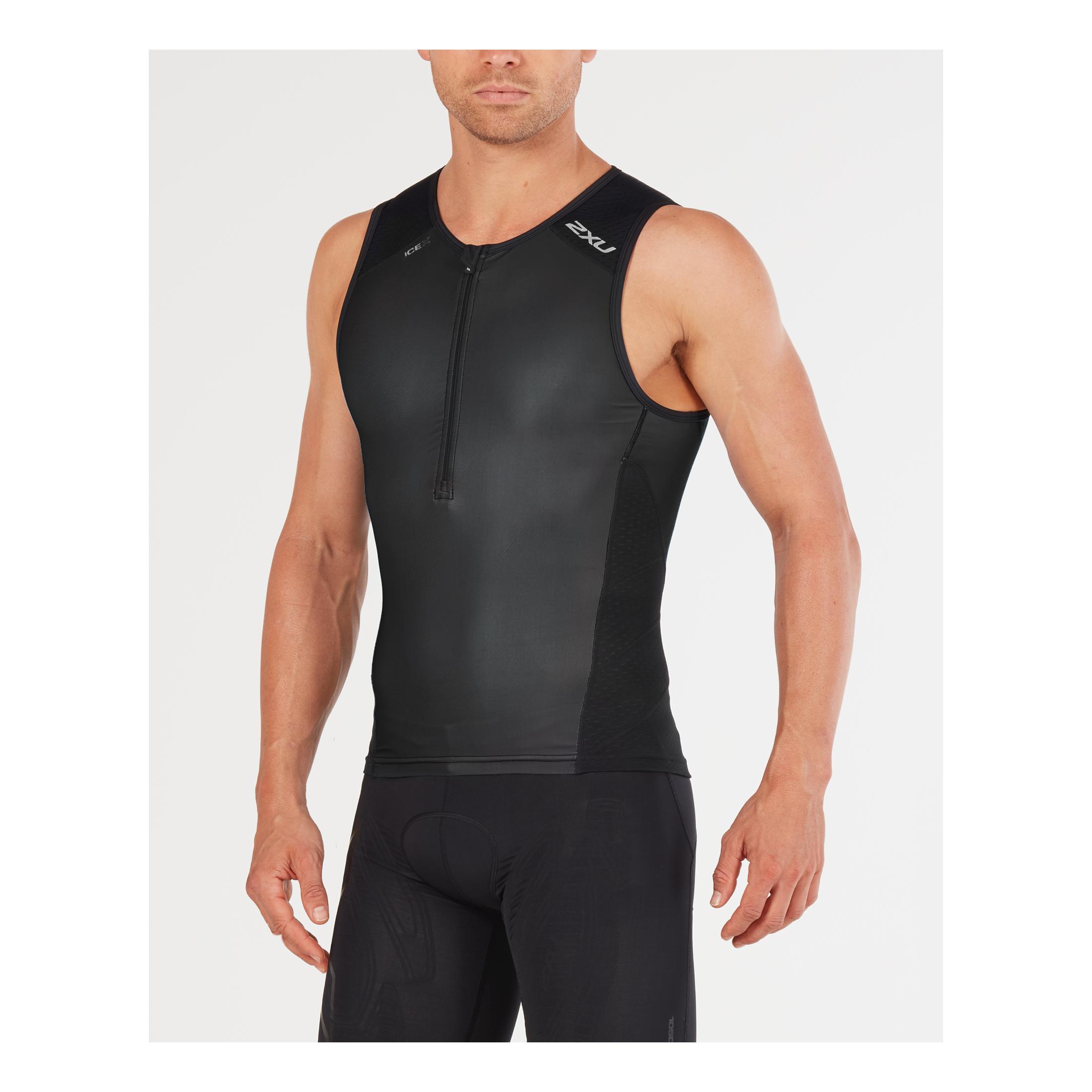 Men/'s Sleeveless Triathlon Singlet by Kinetik Color Black Size Medium
