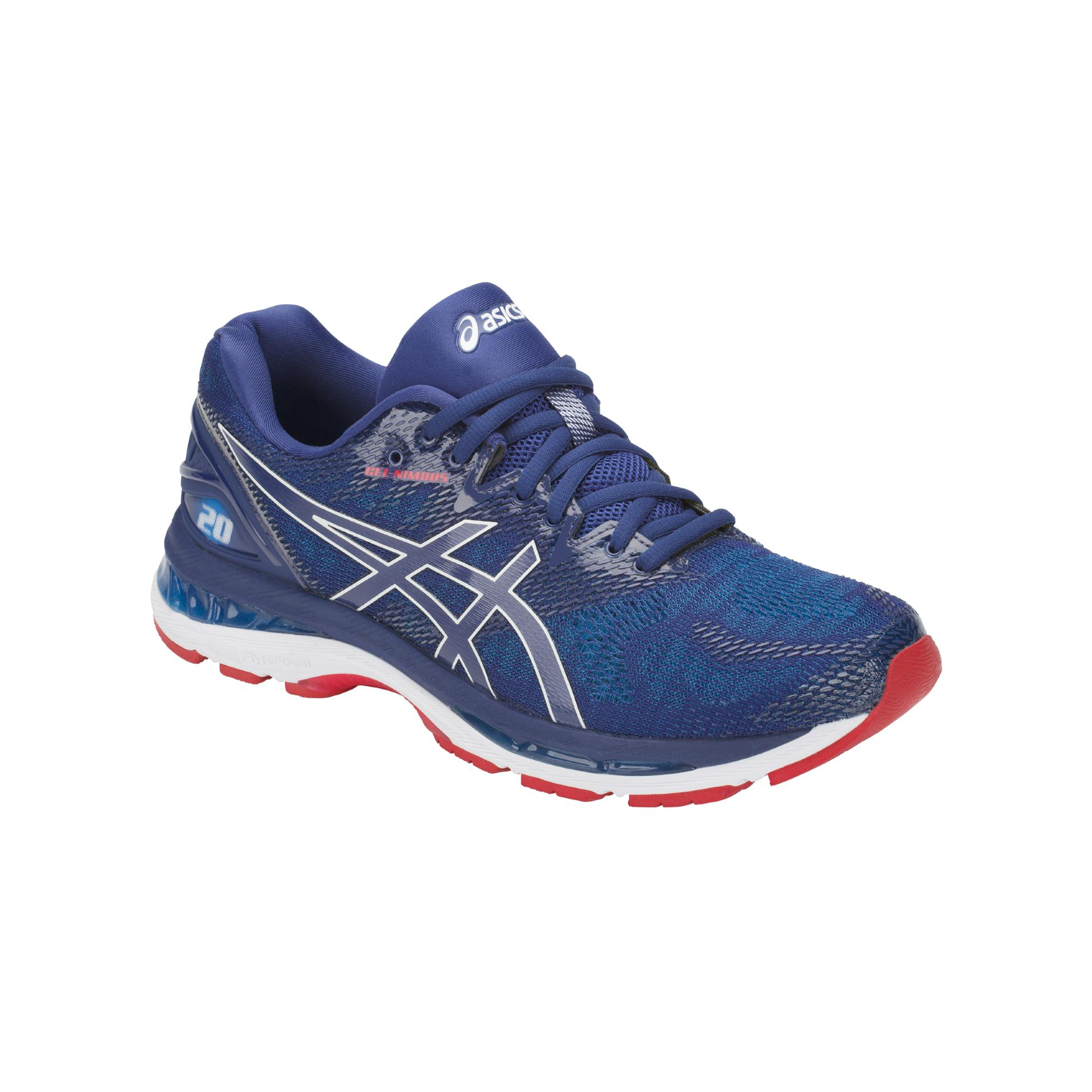 gel nimbus 20 asics bleu fonc et rouge 180 00 mod le homme. Black Bedroom Furniture Sets. Home Design Ideas